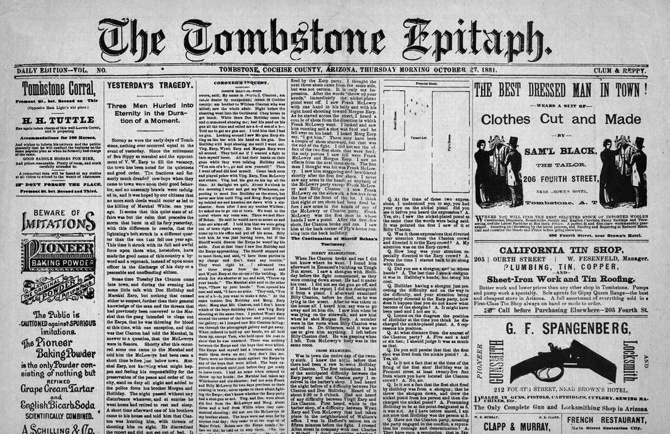 The Tombstone Epitaph Newspaper And Museum Tombstone Az Home